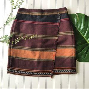 Loft striped crossover skirt purple orange